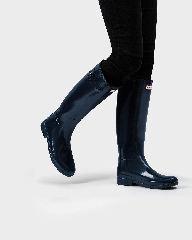 d3b9e636b50 Womens Blue Refined Gloss Wellies | Official Hunter Boots Site ...