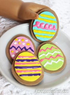 American Girl Doll Easter Egg Cookies #americangirldollcrafts