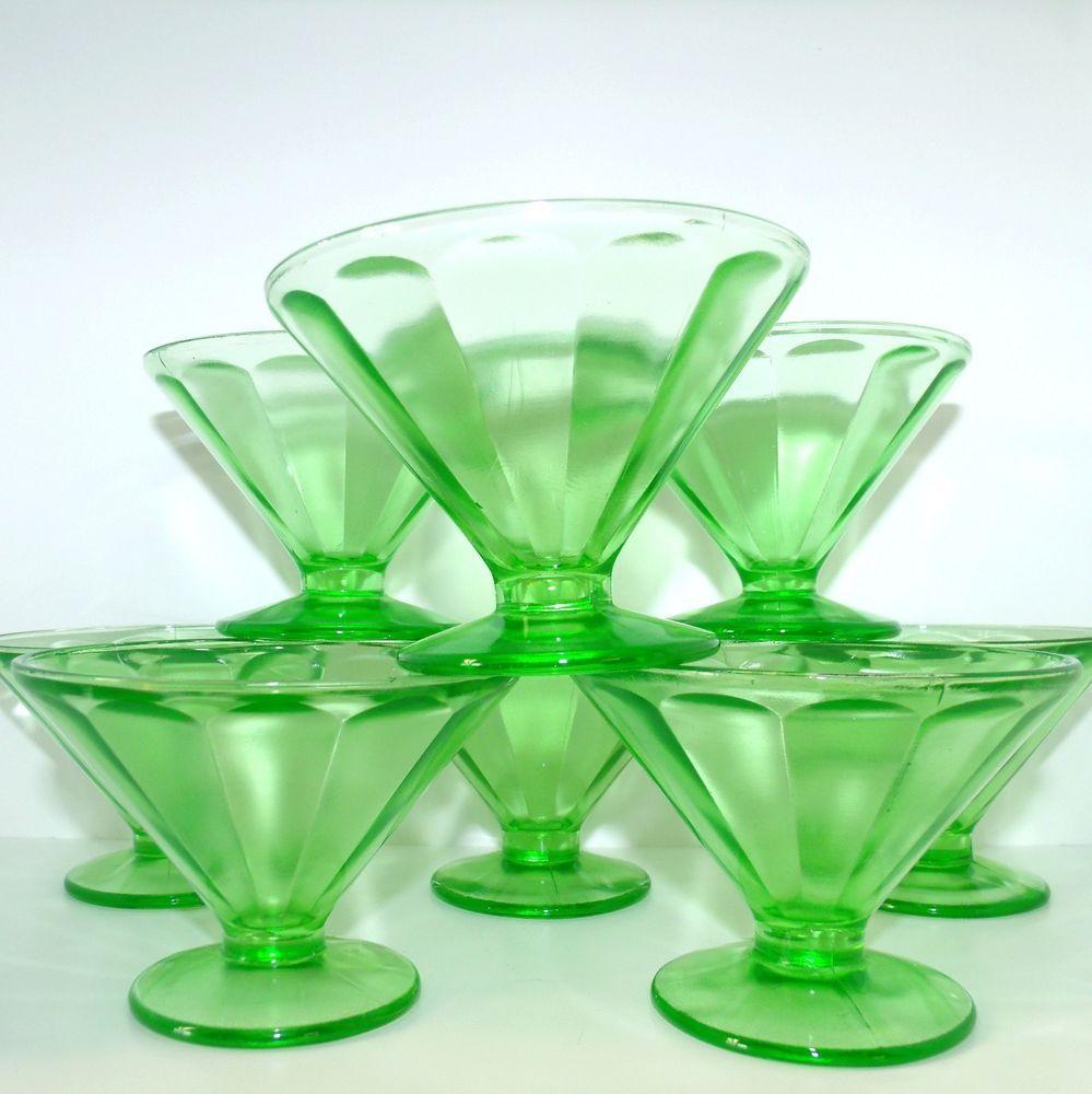 Vtg Federal Green Depression Glass Set of 8 Sherbet Sundae Footed Cups #vtg #FederalGreenDepressionGlass #FootedCups #SetOf8 #SundaeCups #SherbetCups #MothballHavenVintageThreads