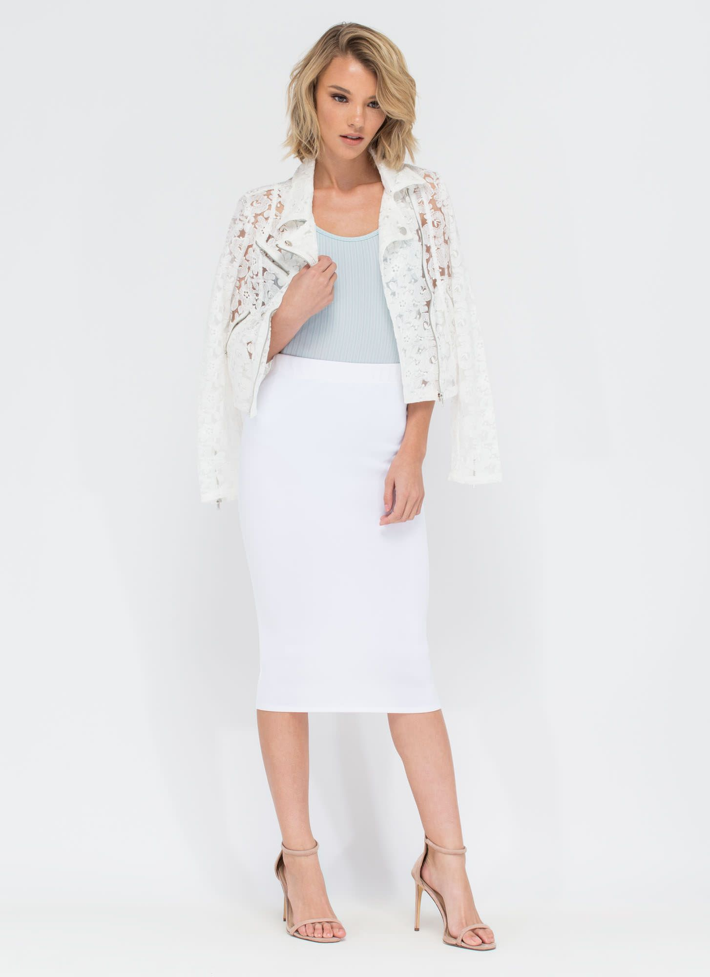 Study In Contrasts Floral Moto Jacket WHITE
