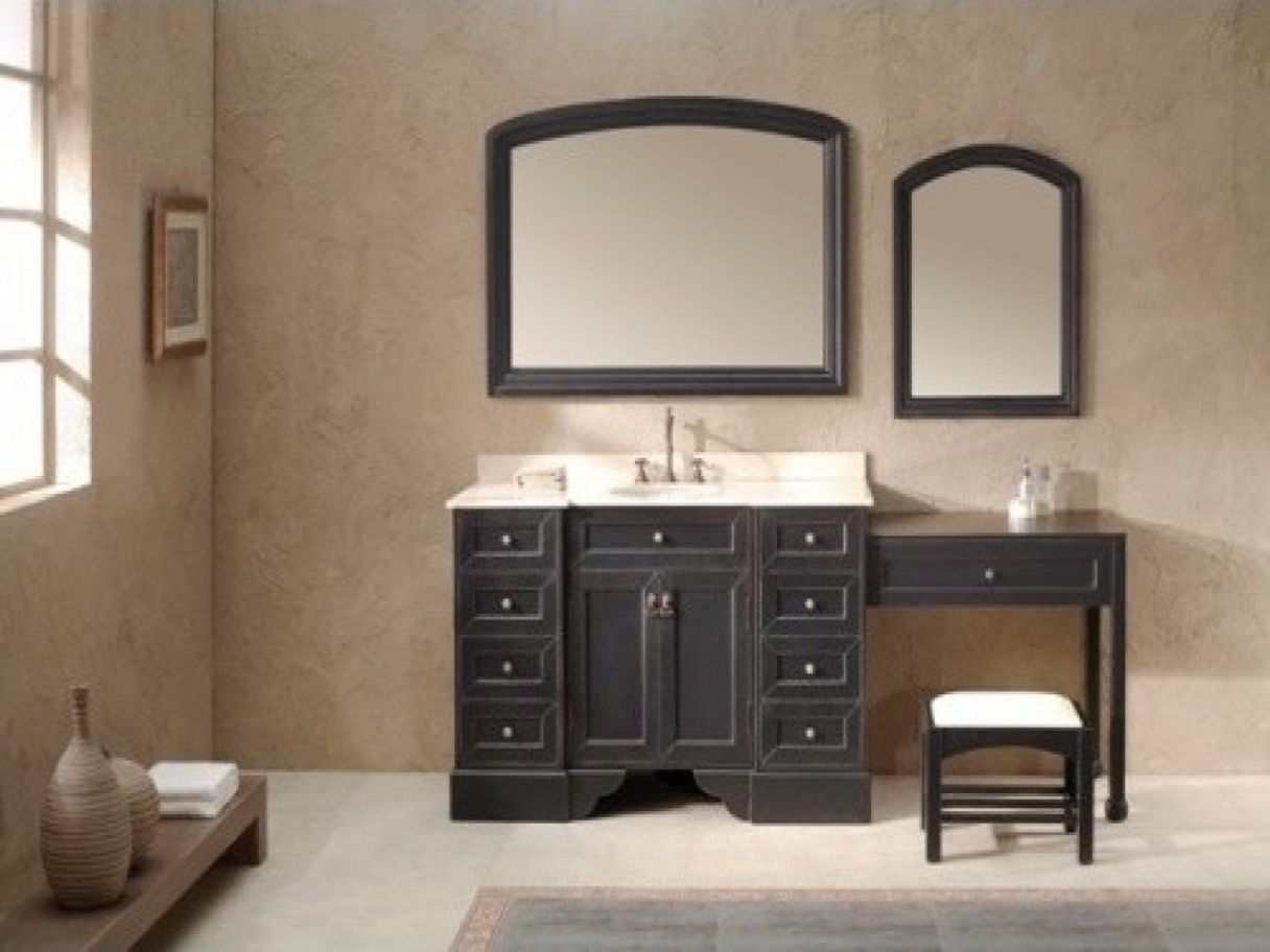 Single Bathroom Vanity With Makeup Table Traditional Bathroom
