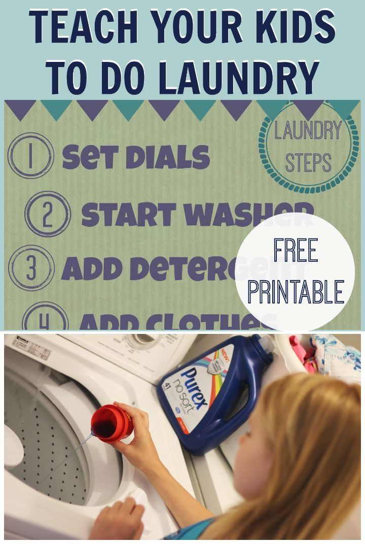 Teach Your Kids to do Laundry with No Sorting! Free Printable | Free ...