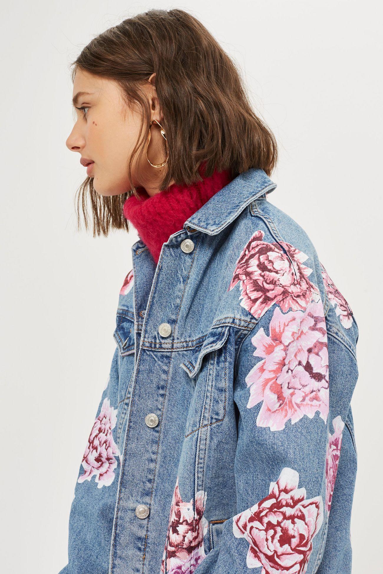 MOTO Peony Painted Denim Jacket