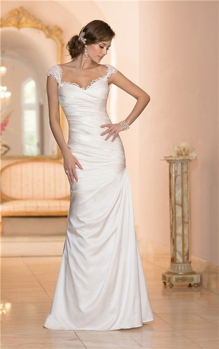 Mermaid sweetheart open back satin ruched wedding dress with lace mermaid sweetheart open back satin ruched wedding dress with lace straps junglespirit Gallery