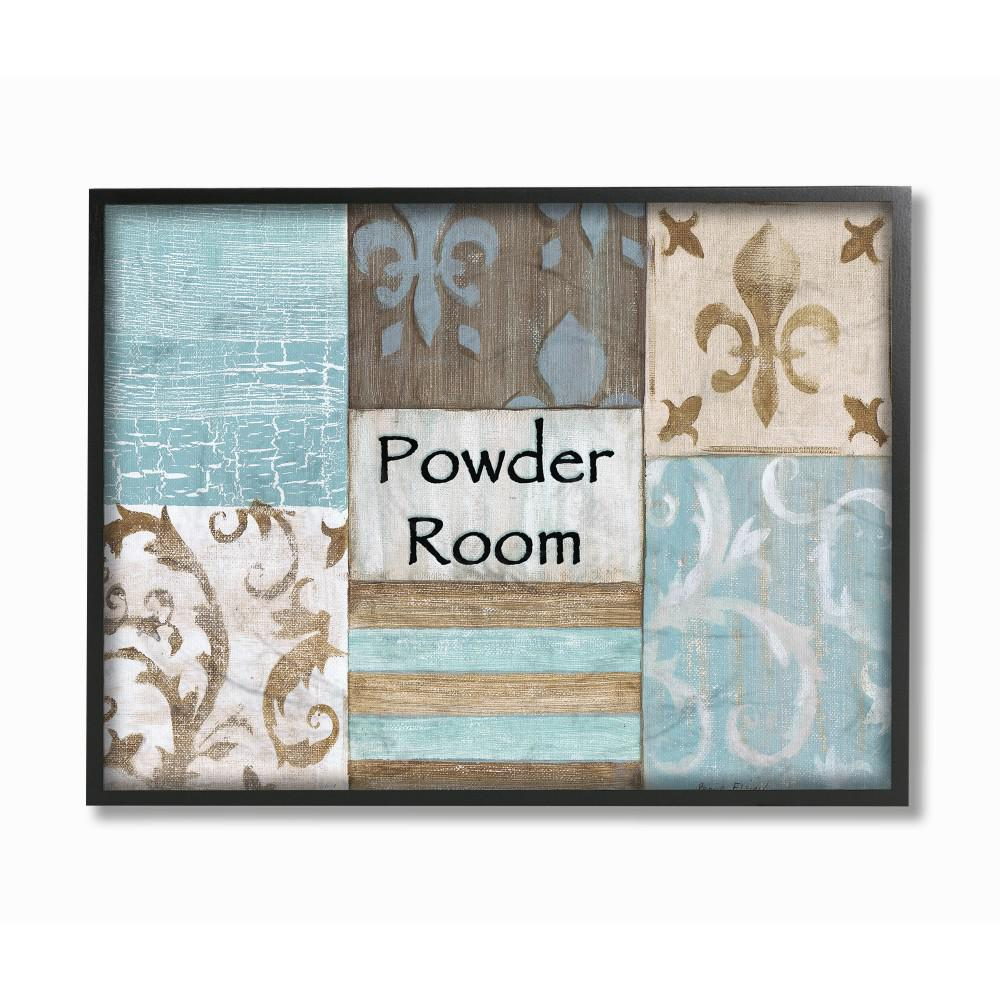 The Stupell Home Decor Collection 11 In X 14 In Fleur De Lis Powder Room Blue Brown And Beige Bathroom By Bonnie Wrublesky Wood Framed Wall Art Wrp 930 Fr Wall Art Plaques