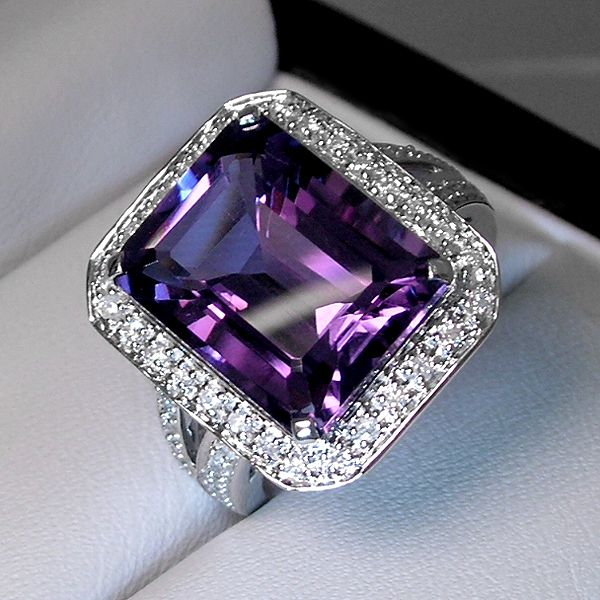 A purple amethyst cocktail diamond ring from MajestyDiamonds
