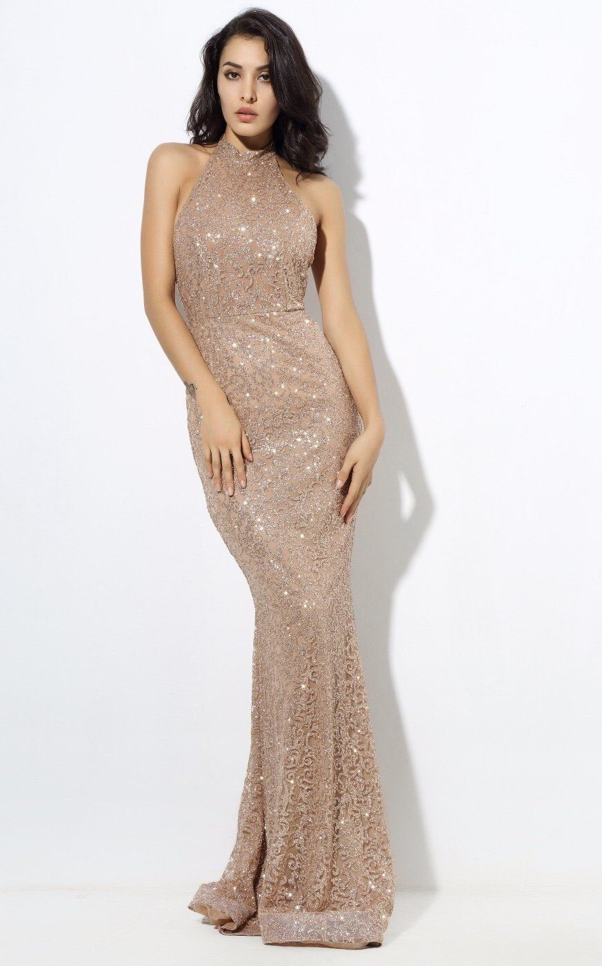 Upon a dream gold glitter embellished maxi dress gown pinterest