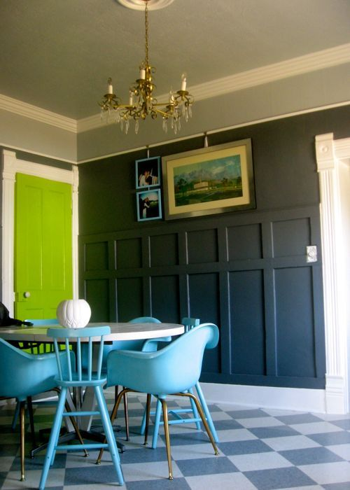 Exterior Color Scheme Bright Chartreuse Green Door Dark Gray House White Trim Sky Blue