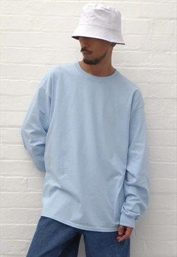 bb41399f New 90s Style Ultra Baggy Long Sleeve T-Shirt in Light Blue ...