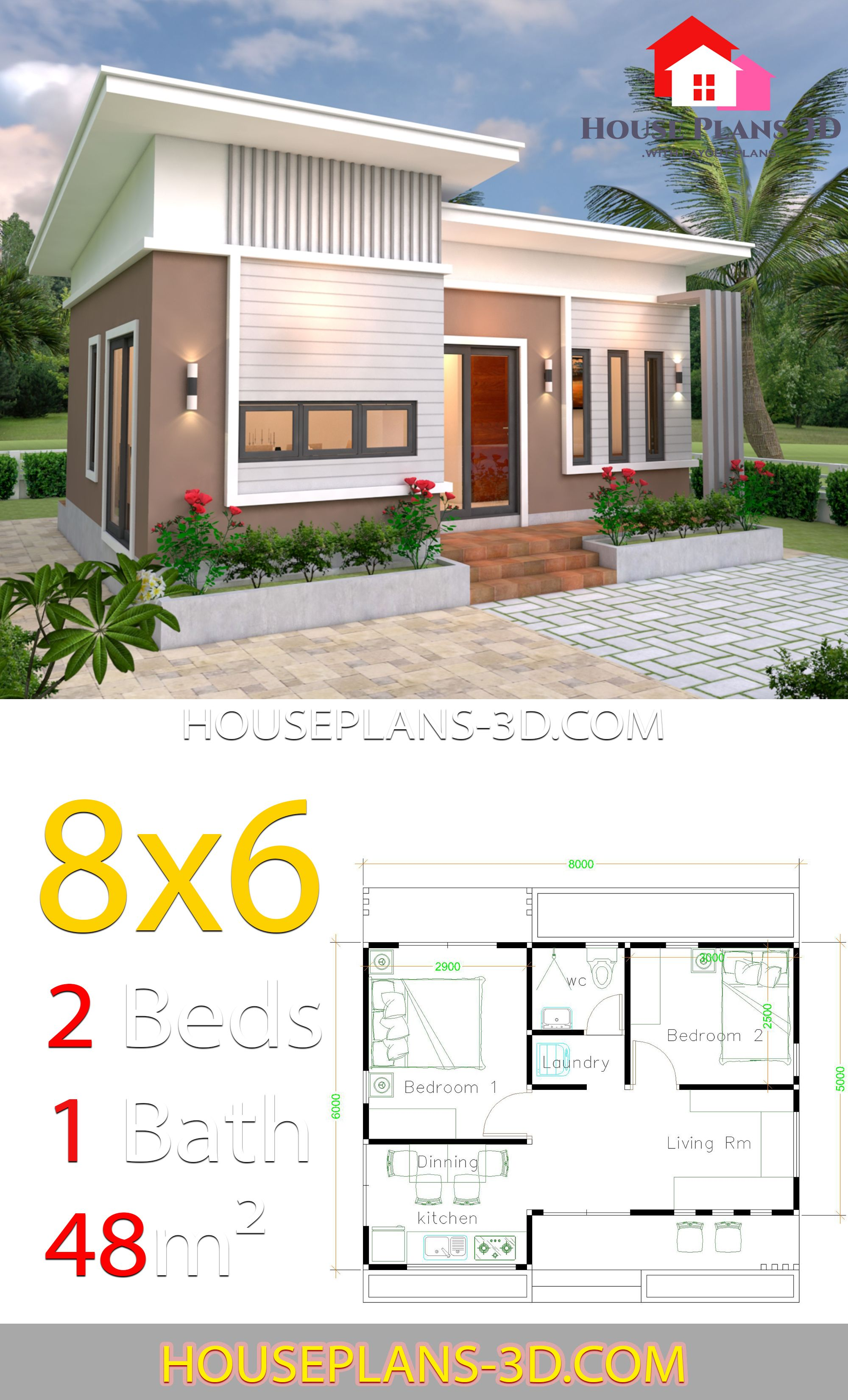 House Plans 8x6 With 2 Bedrooms Slope Roof House Plans 3d In 2020 Flat Roof House House Plans Small House Design Plans