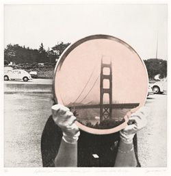 Iain Baxter (now IAIN BAXTER&), Golden Gate Bridge, from the series Reflected San Francisco Beauty Spots, 1979; print; photo-etching and aquatint, 34 in. x 29 5/8 in. (86.36 cm x 75.25 cm); Collection SFMOMA, Purchase with the aid of funds from the Ruth and Moses Lasky Fund and the Byron R. Meyer Fund; © Iain Baxter