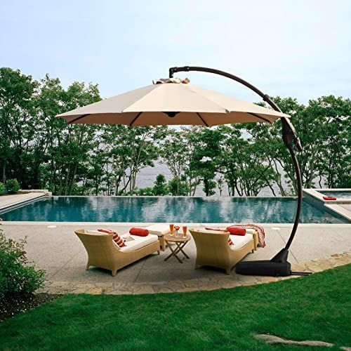 Amazing Offer On Grand Patio Offset Patio Umbrella 11 Ft Curvy Outdoor Aluminum Cantilever Umbrella Base Champagne Online Pool Umbrellas Offset Patio Umbrella Patio