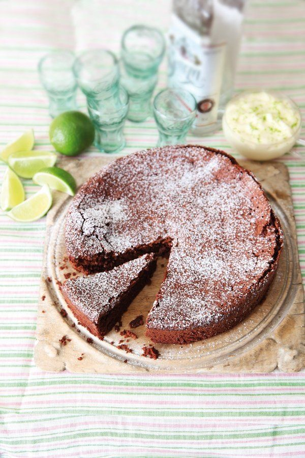Flourless Chocolate Lime Cake With Margarita Cream
