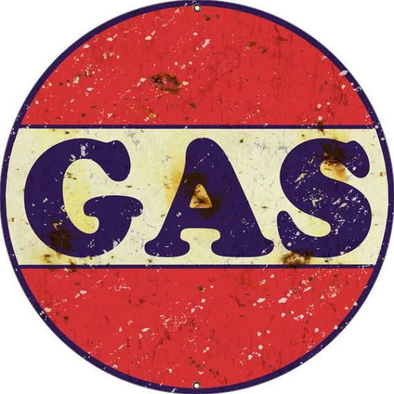 GAS Sign, Vintage Aged Style Aluminum Metal Sign, 2 Sizes