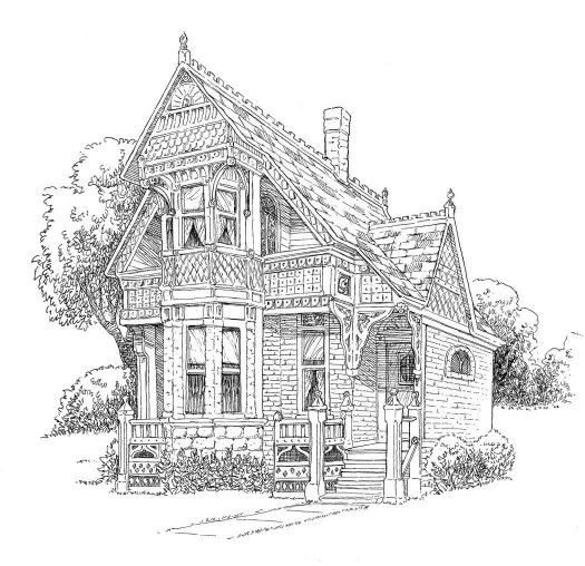 lang designed building victorian house coloring page