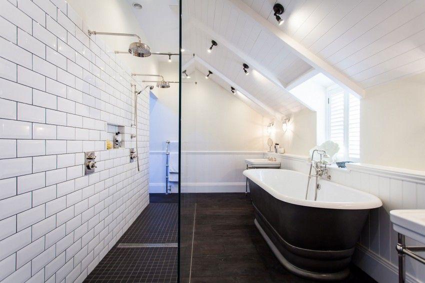 salle-bain-douche-double-noir-blanc | || Bathroom || | Pinterest ...