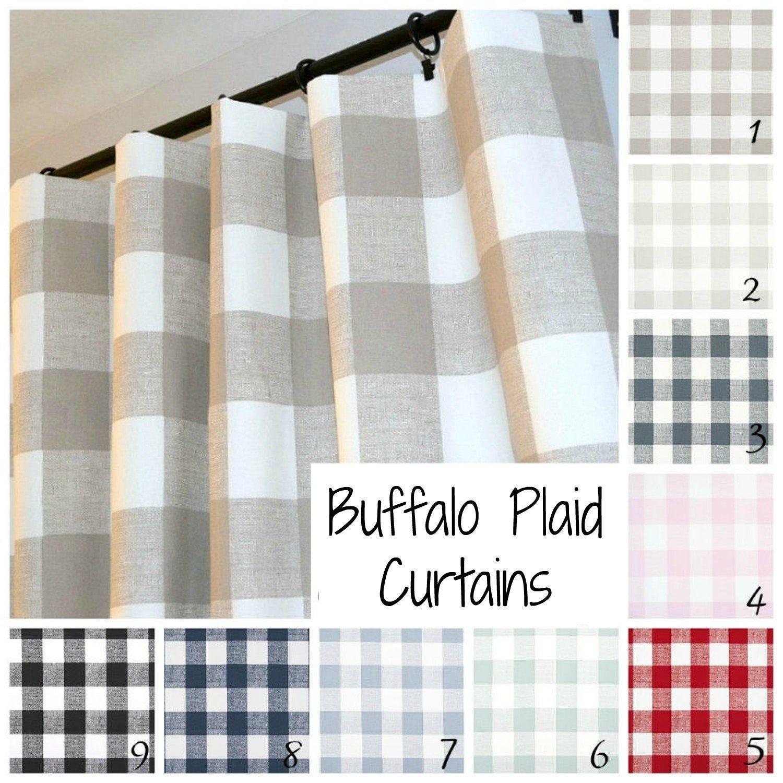 Farmhouse Buffalo Check Plaid Curtains Pair Of Rod Pocket Etsy Buffalo Check Curtains Plaid Curtains Check Curtains