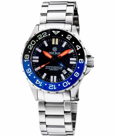 31fc6d730b6 DAYNIGHT RESCUE GMT T-100 SWISS AUTOMATIC ETA 2893-2 BLACK BLUE BEZEL