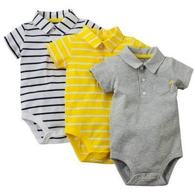 Carters 12 18 Months 3 Pk Solid Striped Polo Bodysuits Baby Boy