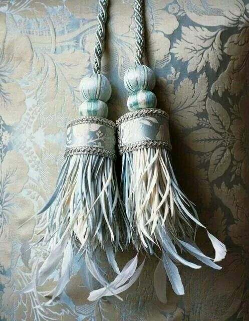 French Bleu Feather Tassels Tieback French Blue Curtain Tie Backs