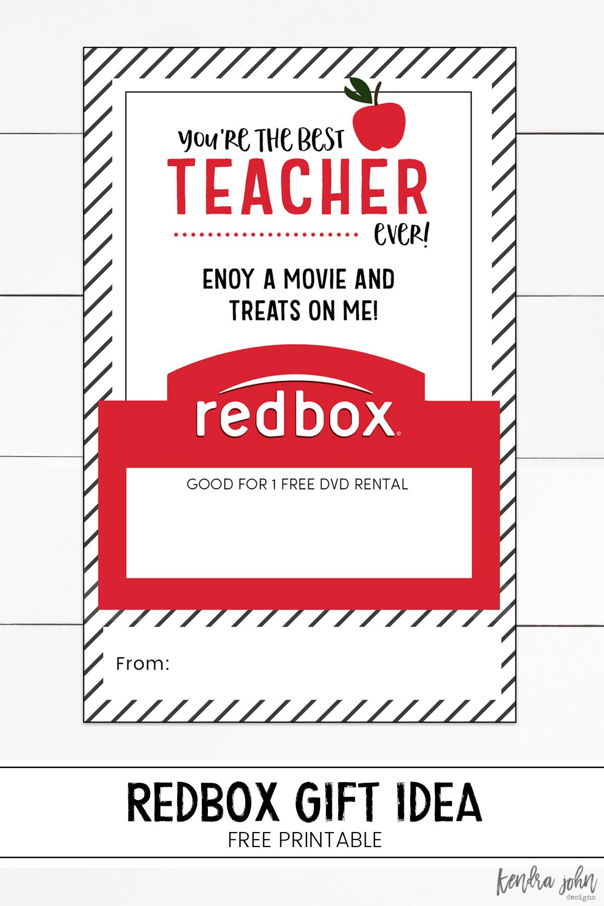 photo about Redbox Teacher Appreciation Printable known as Youre the least complicated trainer at any time! Absolutely free Printable and Redbox reward