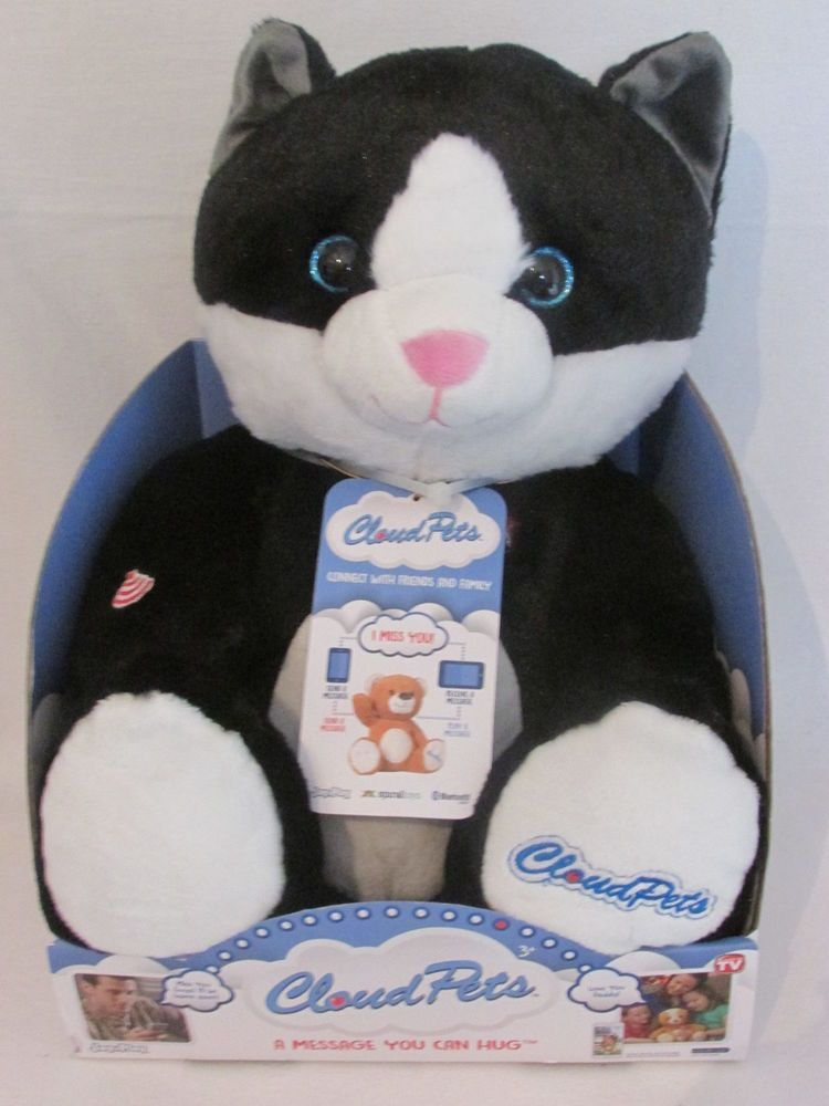 CLOUD PETS Plush Black Cat A Message You Can Hug NEW Connect with Friends Family #CLOUDPETS