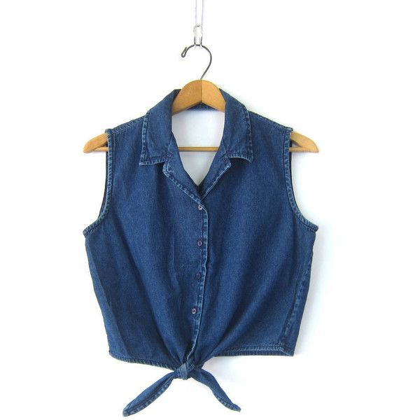 Vintage Cropped Jean Shirt Denim Belly Shirt Tie Front