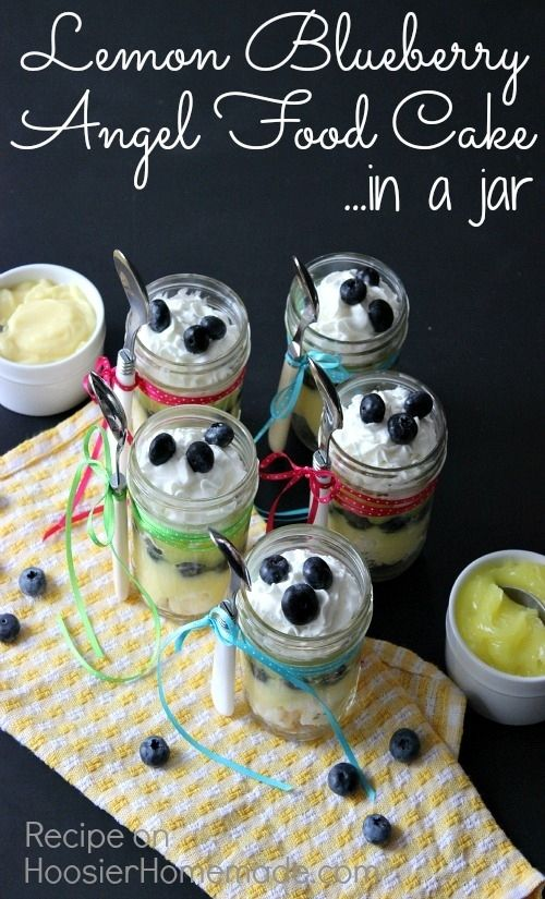 22 desserts in jars for summer picnics angel food cakes food pudding blueberries and topped with whip cream this lemon blueberry angel food cake in a jar makes the perfect spring dessert recipe forumfinder Image collections