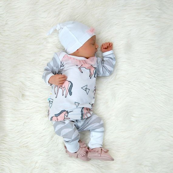 569ceeabfa36 Newborn Take Home Outfit Baby Girl Unicorn and Scallops with Beanie ...