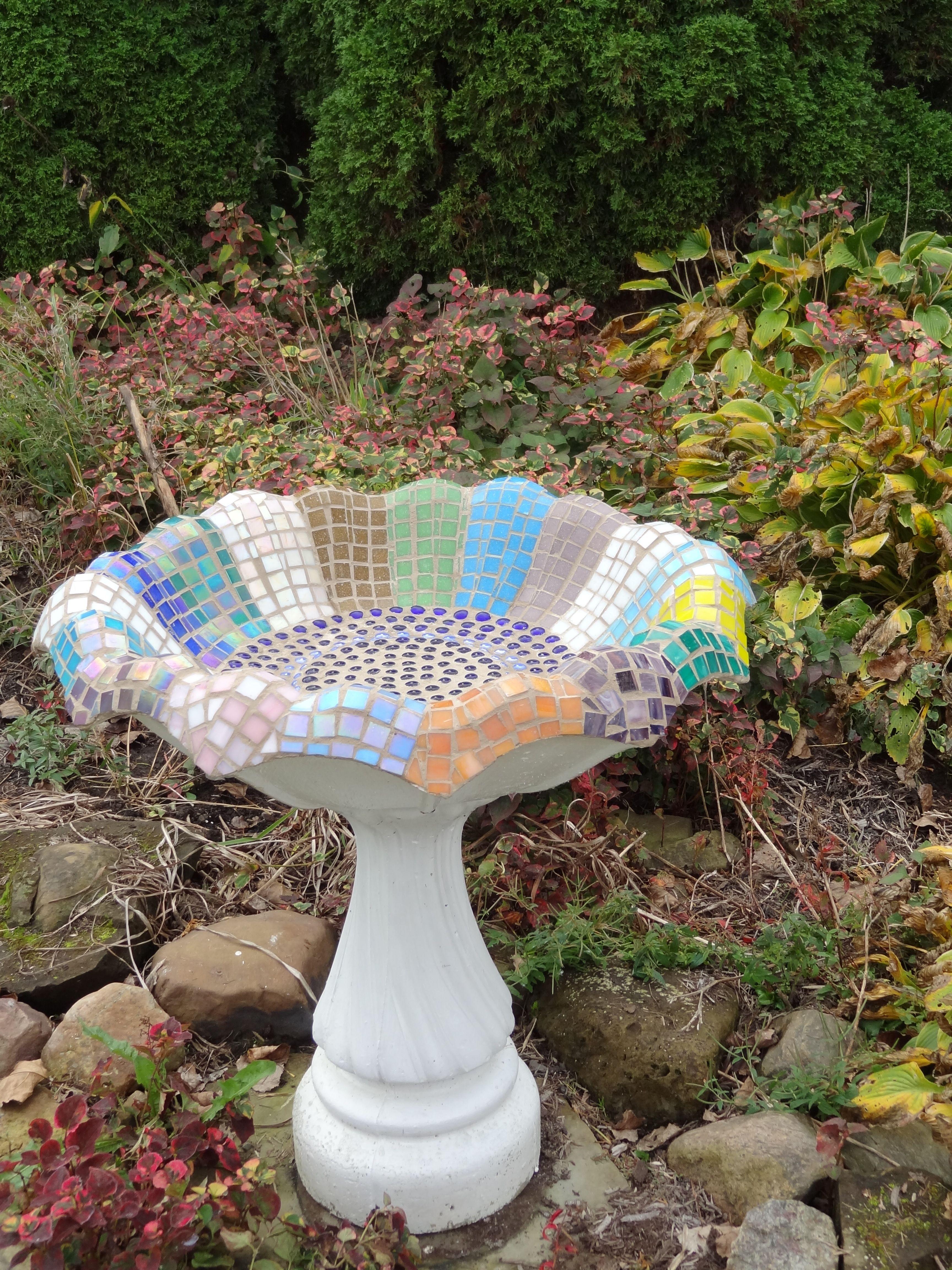 Refurbished Concrete Bird Bath Mosaic Birdbaths