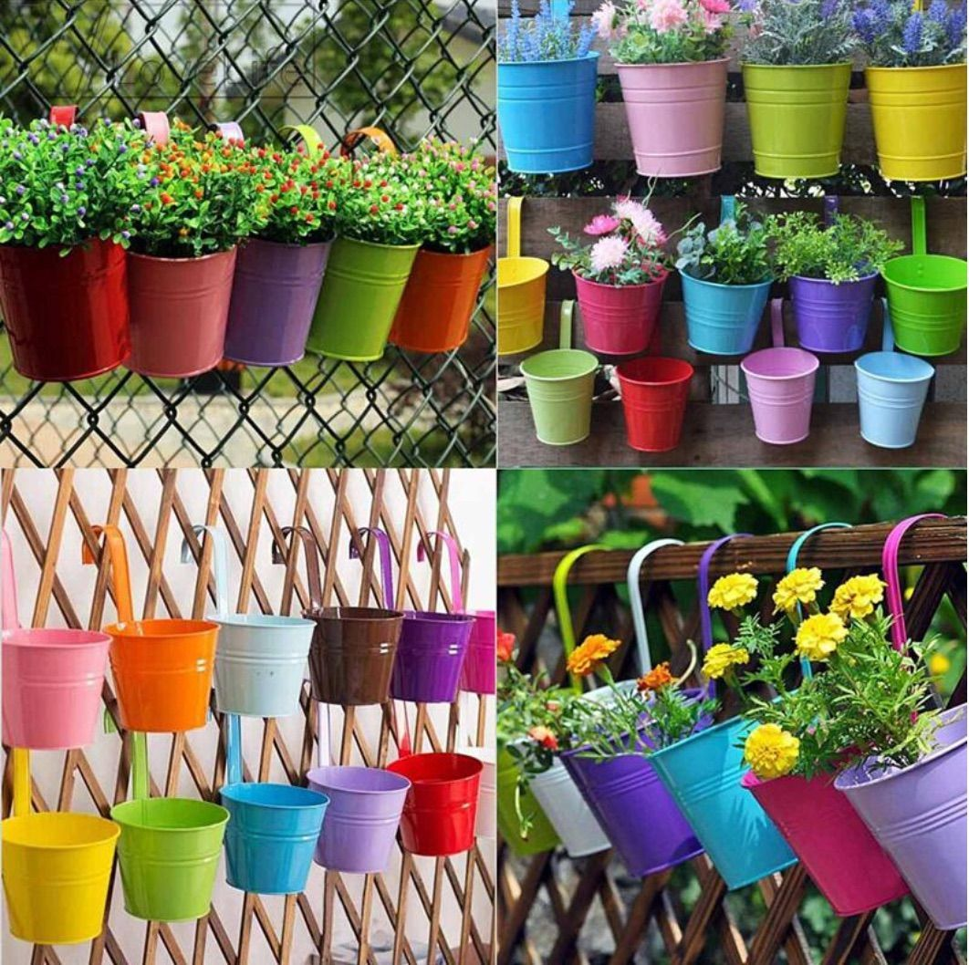 Colorful Fence Railing Pots Colorful Flower Pot Hanging Flower Pots Metal Flower Pots