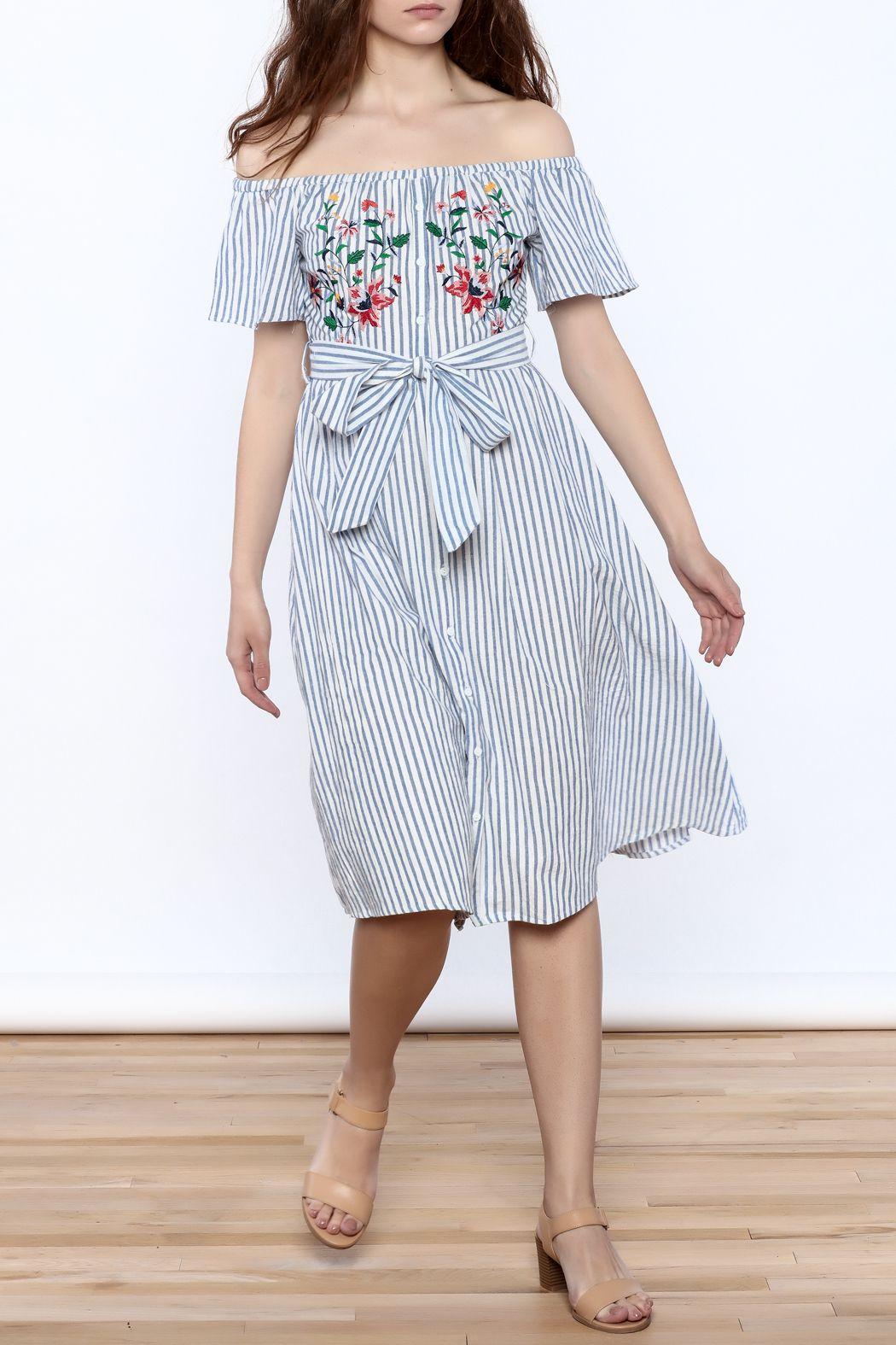 Jealous tomato stripe off shoulder dress front full image spring