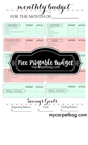 free budget printable pdf, budget download, grocery budget
