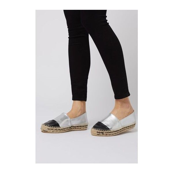 TopShop Kangaroo Espadrille (£46) ❤ liked on Polyvore featuring shoes, sandals, silver, pointed flat shoes, pointed-toe flats, topshop sandals, leather espadrille flats and leather sandals