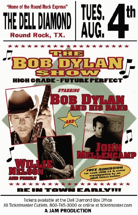 Concert poster for Bob Dylan and Willie Nelson at The Dell Diamond in Round Rock, Texas in 2009. 11x17 inches.