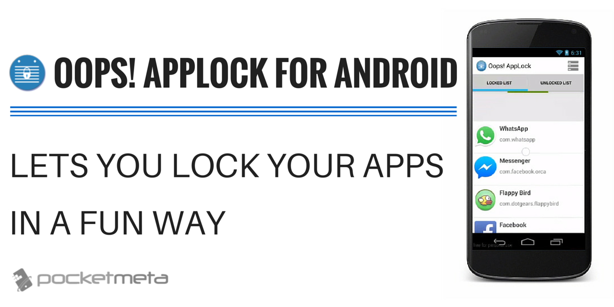 Oops! AppLock for Android lets you lock your apps in a fun