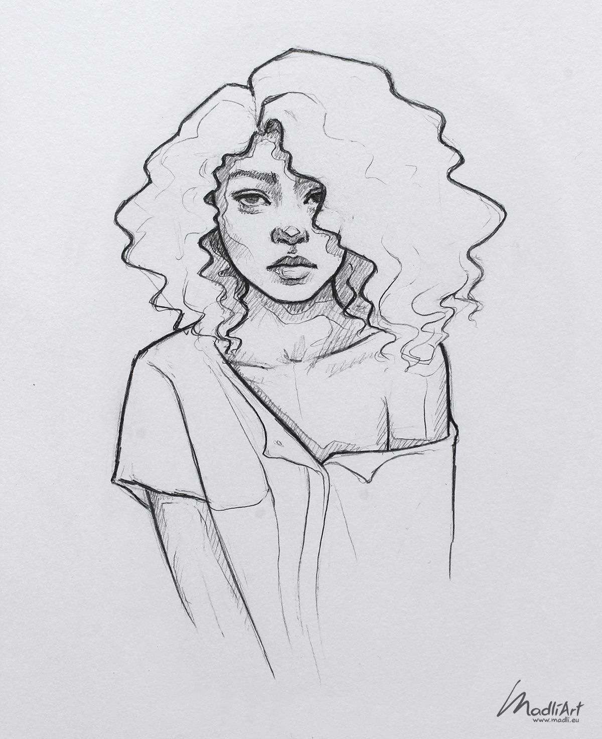How To Draw A Black Girl Step By Step : black, Pretty, MadliArt, Drawing, Sketches,, Portrait, Sketches