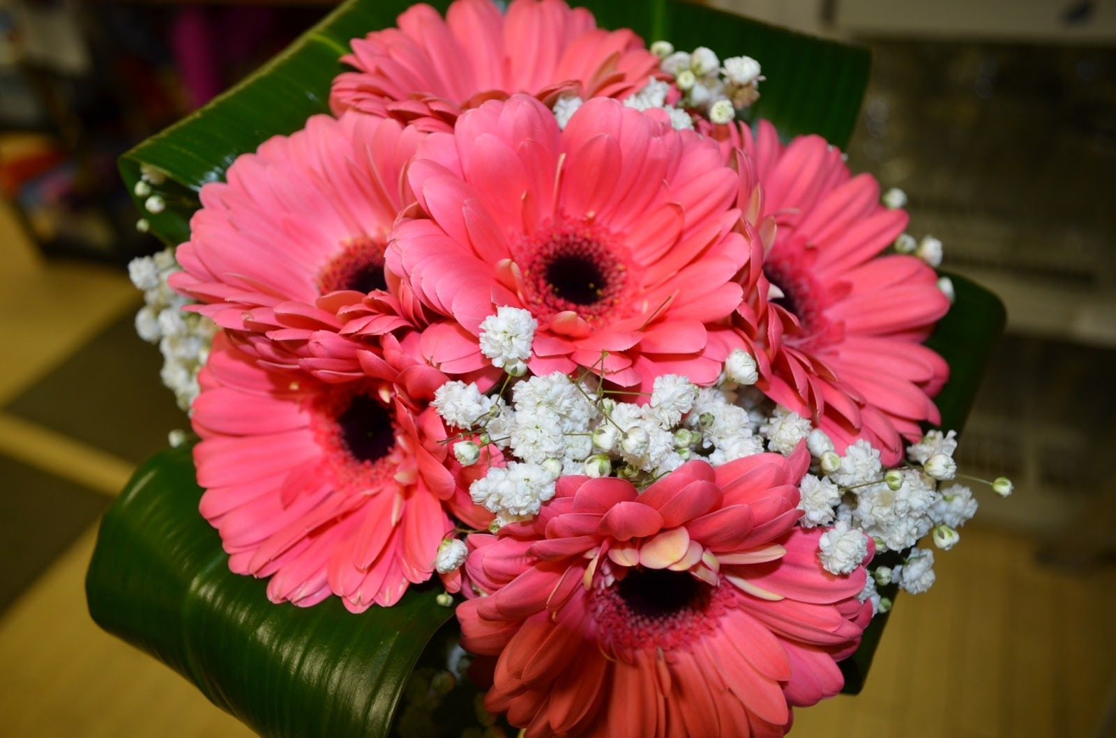 Coral Gerbera Daisy And Hydranga Bouquet