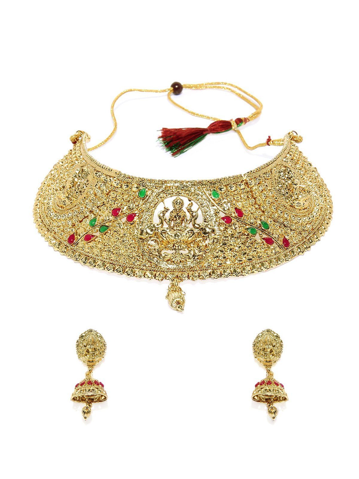 Gold tone finely detailed temple choker necklace set zaveri pearls