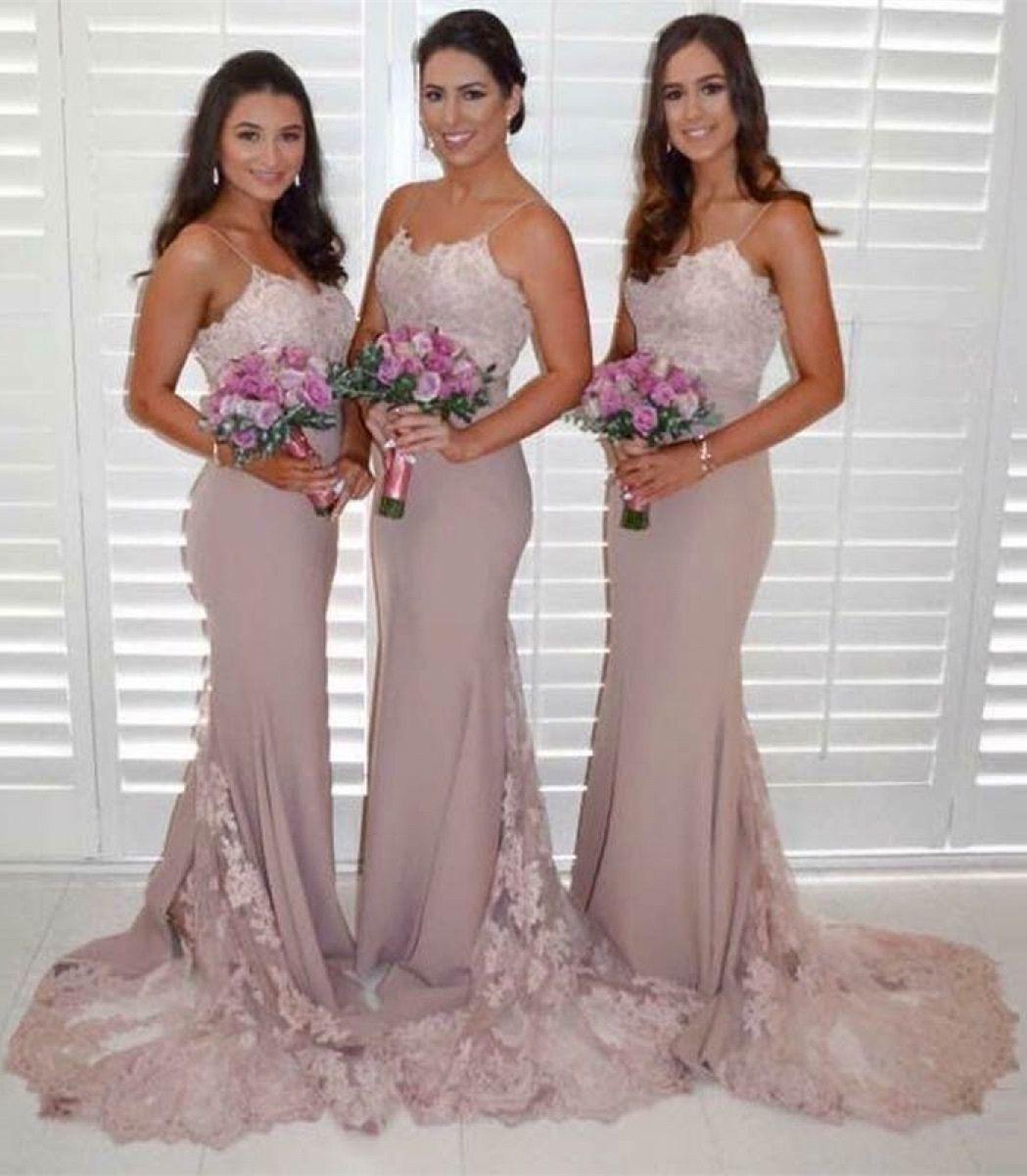 Blush mermaid wedding dress  Mermaid Spaghetti Straps Long Blush Bridesmaid Dress with Appliques