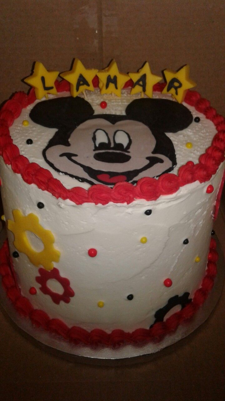 3 Layers 8 Inch White Cake Mickie Mouse Cake No Fondant