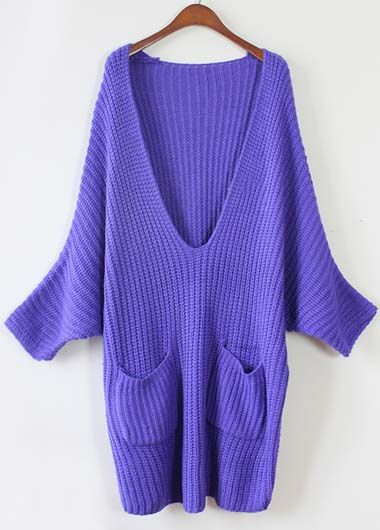 Fine Quality V Neck Batwing Sleeve Autumn Sweater | Rosewe.com