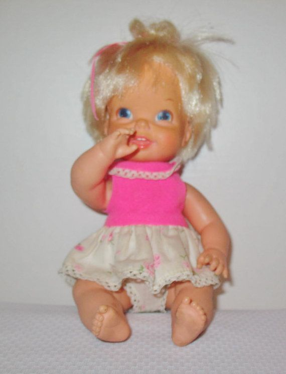 Mattel Bouncy Baby 1968 Vinyl 11 Inch Baby Doll Original Dress Cyndy Memba Her We Both Had One We Also Both Called Our Doll Lor Baby Dolls Bouncy Mattel