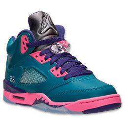 Girls' Grade School Air Jordan Retro 5 Basketball Shoes | Girls ...