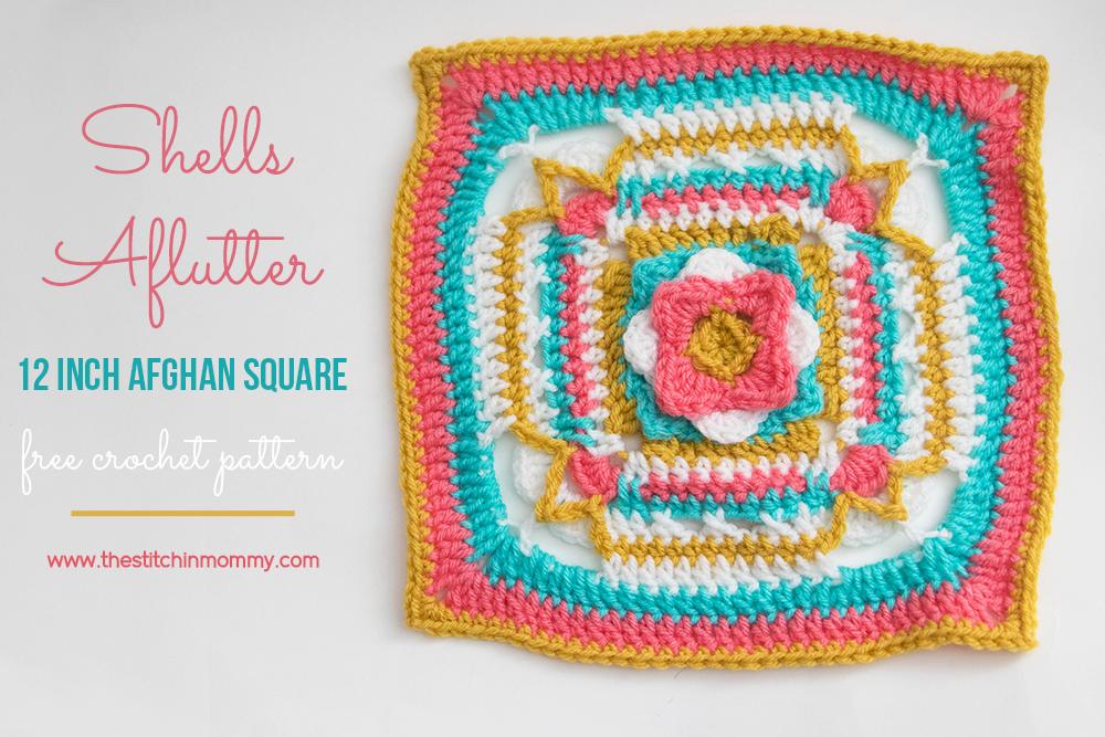 Shells Aflutter 12 Inch Afghan Square - Free Crochet Pattern