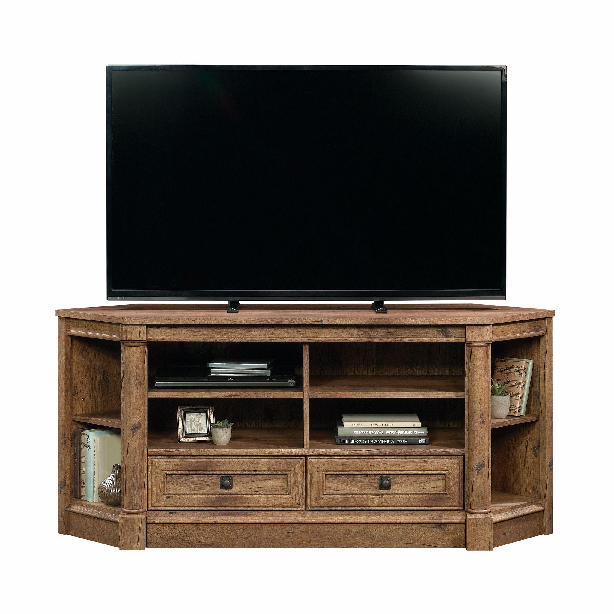 Sauder Palladia Corner Tv Stand For Tvs Up To 60 Vintage Oak Finish Walmart Com Corner Tv Corner Tv Stand Corner Tv Stands