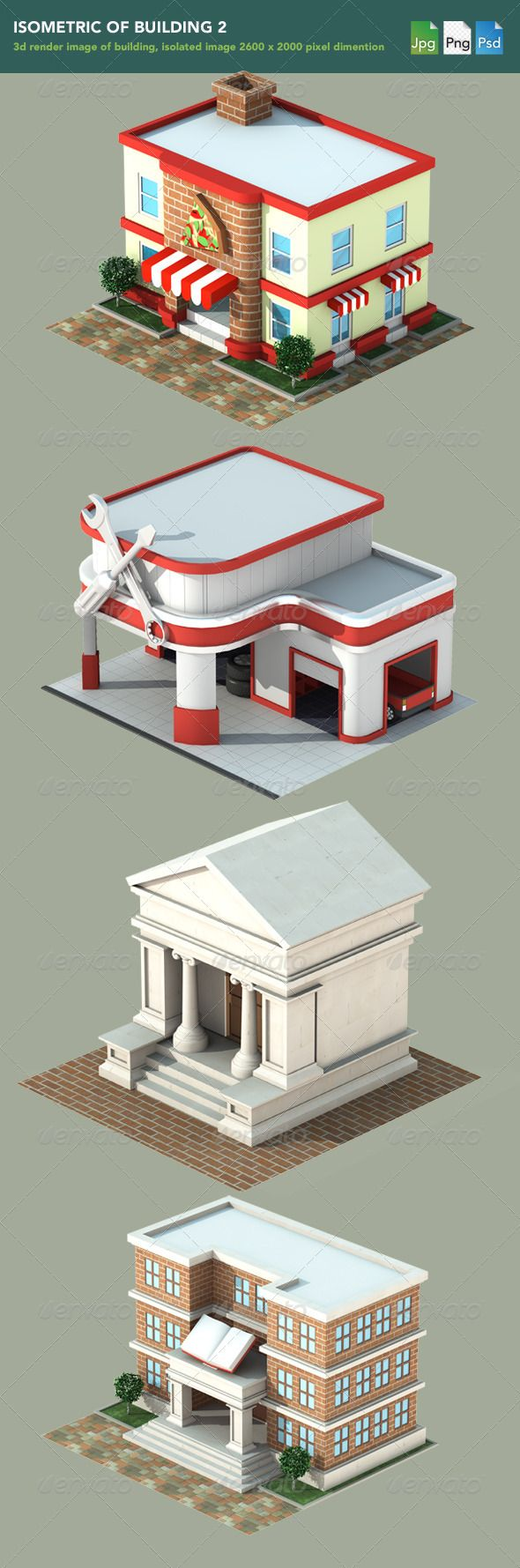 GraphicRiver Isometric 3D Render of Building 2 1177801