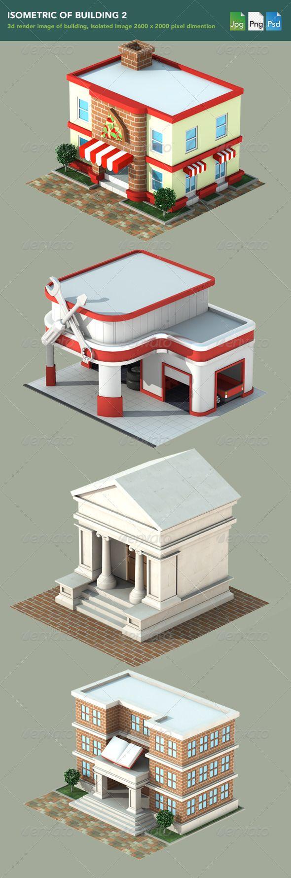 isometric 3d render of building 2 flat art pinterest illustration illustration num rique. Black Bedroom Furniture Sets. Home Design Ideas