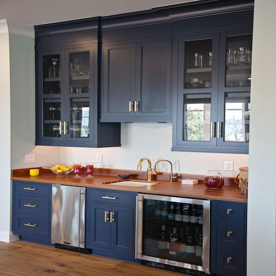 Navy Wet Bar Cabinets With Wood Countertops And Stainless Steel Mini Fridge Transitional Kitchen Kitchen Wet Bar New Kitchen Cabinets Navy Kitchen Cabinets