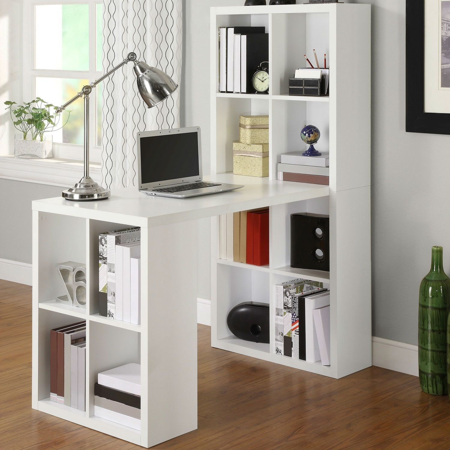 Home Office Laptop Computer Desk Writing Table With Storage In White Wood Finish Idee Decoration Cuisine Bureau A